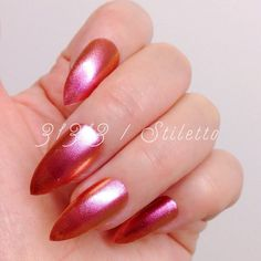 Stiletto 20pcs Holographic Pink Gold Hand Painted Nail by 31313