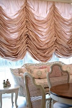 Austrian Silk Taffeta Shade & pink couch by Adventures of Elizabeth Custom Drapes, Victorian Windows, Victorian Window Treatments, Curtains, Pink Couch, French Decor, Beautiful Curtains, Window Coverings, Window Styles