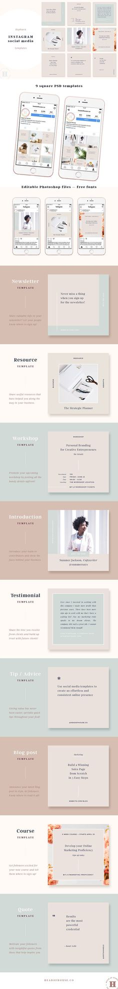 Hepburn Instagram Post Templates by Head of House on @creativemarket