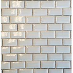 "Vetromani Mini 1"" x 2"" Porcelain Moasic Tile in White Mosaic Tiles, Wall Tiles, Ash Leaf, White Tile Backsplash, Hudson Homes, Best Floor Tiles, Decorative Storage, Subway Tile, Kitchen Flooring"