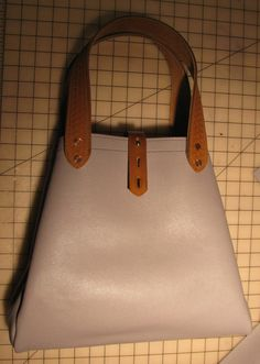 Gray+Leather+Tote+Bag+Expandable