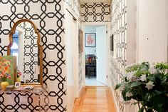 """renters wall paper or """"removable"""" wallpaper! peels off easily in about five minutes. Sherwin Williams pattern#SW8EG5315"""