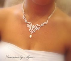 Bridal jewelry SET Bridal necklace Set Crystal by treasures570 I would love this set to walk down the aisle