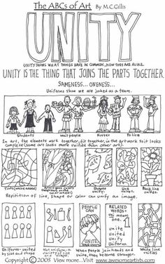 elements and principles of design unity Principles Of Art Unity, Elements And Principles, Elements Of Art, Middle School Art, Art School, High School, Art Doodle, Art Room Posters, Art Handouts