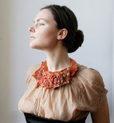 Frida Kahlo inspired Coral Sunset Meadow  Felted Neck by vaivanat