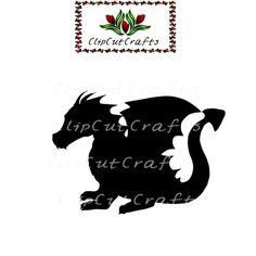 Black Dragon Fantasy Logo Icon Cut File Print and Cut Print & Cut Scrapbook Vector for Print Vinyl a