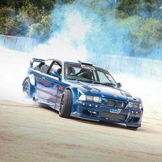 BMW E36 M3 blue widebody smoke show