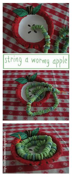 String a wormy apple. This little wormy apple is made with just a few simple materials you can purchase from a local grocery stor. Preschool Apple Theme, Apple Activities, Fall Preschool, Preschool Projects, Daycare Crafts, Autumn Activities, Preschool Activities, Crafts For Kids, Preschool Apples