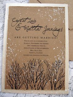 Winter Wedding Invitation hand stamped and by everafterpapery, $4.00 This is the one.