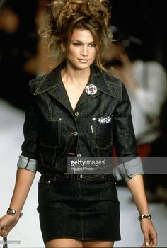Cindy Crawford at the Chanel Spring 1996 show circa 1995 in Paris, France.