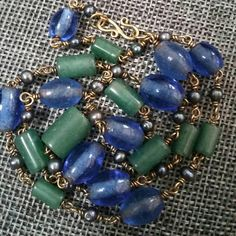 Stone and glass  blue green beaded gold chain vintage necklace