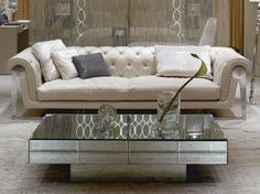 Mirror Top Rectangular Coffee Table