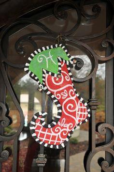 Stocking Door Hanging - Red & Green