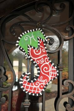 Stocking Door Hanging - Red & Green