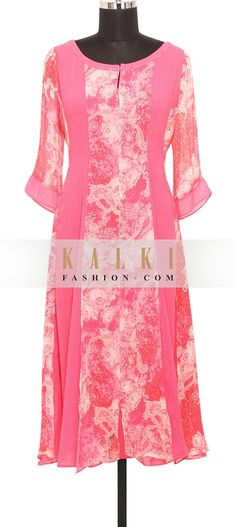 Buy Online from the link below. We ship worldwide (Free Shipping over US$100) http://www.kalkifashion.com/pink-georgette-kurti-in-kundan-and-print-only-on-kalki.html