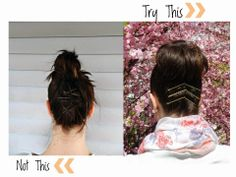 You can try this, not this, with your short hair top knot.