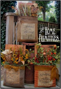 Shutters wrapped and adorned for the Fall Season by At Home Primitives