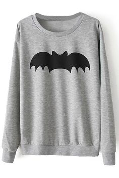 ROMWE | Black Batman Long Sleeves Grey Pullover, The Latest Street Fashion