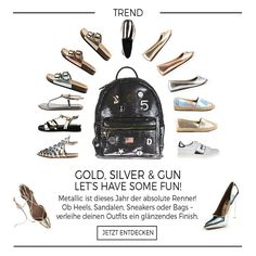 What's your combination? supermauro Trend Spring Summer Metallic Look Mode für Frauen  Schuhe Sandalen High Heels Handtaschen Rucksack Swissonlineshop Switzerland Schweizer Online Shop Swiss Fashionistas