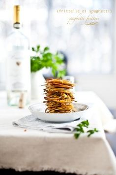 """stacked fried spaghetti fritelle """"fritters"""""""