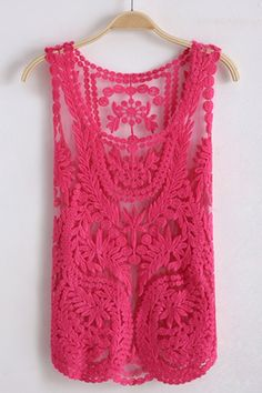 $36 Sleeveless Round Neck Crocheted Lace Vest | Great Color!