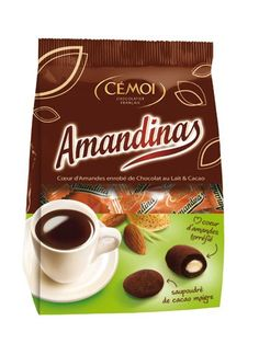The greatest French Treat : chocolate covered almonds, with a hint of bitter cocoa, to eat with a good French Coffee : Amandinas, from Cemoi