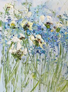 Blue White Painting Wife Wall Art Flower Field Knife Forget Me Not Light Blue Canvas Art Flowers Sma