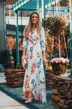 vestido largo estampado flores & complementos en rosa - crema
