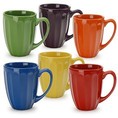 Signature Housewares Orted Microwave And Dishwasher Safe Fluted Mugs Pack Of Artnbed Colorful Coffee