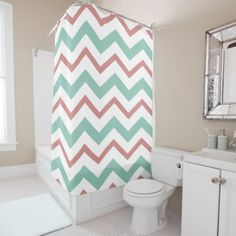 Coral & Mint Chevron Shower Curtain - shower curtains home decor custom idea personalize bathroom