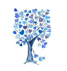 Blue  Hearts Tree  art Print of watercolor painting ,  valentine day,  weddings , girls, heart, mothers day, wall decor , wall art. $21.00, via Etsy.