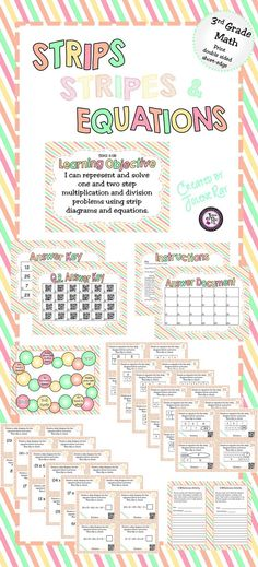 Your 3rd grade students will love this flip and play game and will learn how strip diagrams and equations relate. The task cards vary in difficulty. There are 4 challenge task cards for higher level students. There is also an extension activity where students apply what they have learned by creating word problems to go with the task cards. Supports TEKS: 3.5B