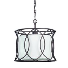 Shop Canarm Monica 13.5-in W Oil Rubbed Bronze Pendant Light with White Shade at Lowes.com $95.5