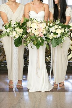 San Francisco City Hall - Intimate Wedding - bridesmaid - champagne bridesmaid dresses - gold heels - green and white bouquet - big bouquet - romantic bouquet - blush white and green bouquet - ribbons - romantic