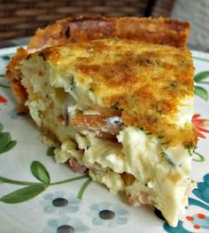 Bacon Cheese and Onion Quiche... add Ham and it's perfect for a Thanksgiving Day breakfast (plus pie crusts come in a set of 2, 1 for pumpkin pie and 1 for quiche)