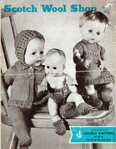 PDF Vintage 1950s Doll Clothes Knitting Pattern The Scotch