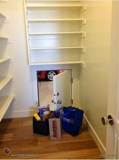 Mini door from garage to pantry for ease in putting up groceries