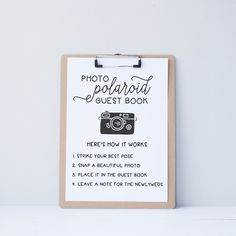 Wedding Polaroid Guest Book Guestbook Alternative Instructions Directions Sign…