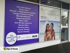You can always count on window graphics if you have limited space or view angles for an expressive sign. Anti Wrinkle Injections, Window Graphics, Skin Clinic, Infrared Sauna, Dermal Fillers, Window Decals, Window Design, Angles, Signage