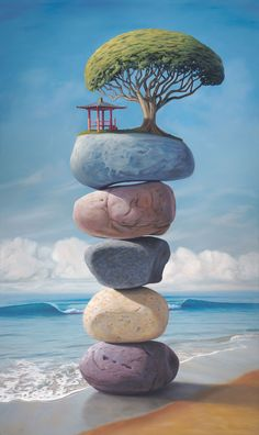 The Shape of Your Laughter, painting of an Asian pagoda temple and large tree sitting on top of stacked stones on the beach,  rocks, art with stacked rock cairn, art about balance, sky, high, floating, clouds, tree, water, art with waves, sea, ocean, surf, surfing art, beach, temple, art with chinese asian japanese theme, soulful uplifting inspirational art, soul stirring illusion art, romantic art,  surrealism, surreal art, dreamlike imagery, fanciful art, fantasy art, dreamscape visual…