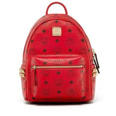 MCM Stark Coated Canvas Backpack ($670) ❤ liked on Polyvore featuring bags, backpacks, apparel & accessories, ruby red, studded backpack, backpack bags, day pack backpack, red bags and red studded bag