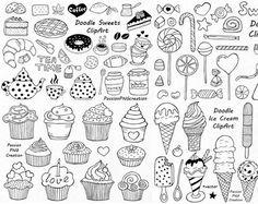 Big Set of Doodle Sweets clipart,Tea time clip art, Dessert Doodles, PNG, EPS… Doodle Png, Doodle Drawings, Doodle Cake, Doodle Icon, Doodle Sketch, Carta Collage, Vector Clipart, Travel Clipart, Tattoo Flash