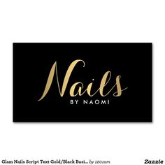 Glam Nails Calligraphy Script in Gold Business Card Template for Nail Salons and Nail Technicians - Ready to personalize and make it yours!