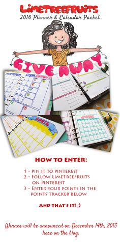 2016 Planners & Calendars GIVEAWAY! |  http://limetreefruits.com/its-giveaway-time-d/