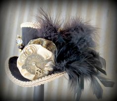 The White Rabbits Cousin in Gold and Black Mini Top Hat, Alice in Wonderland, Tea Party Hat, Steampunk Hat
