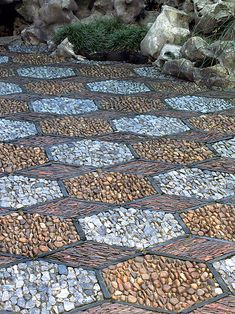 Detail of hexagon stone mosaic path at Dr. Sun Yat-Sen Classical Chinese Garden, Vancouver, B.C.