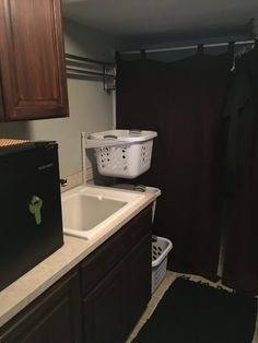 An updated new laundry room and steps I took to make a small space work with all the things I needed. Laundry Room Remodel, Basement Laundry, Unfinished Laundry Room, Small Basement Bedroom, Small Basements, Small Spaces, Basement Ideas, House, Garage
