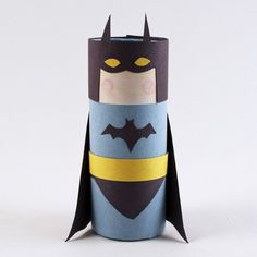 Turn an ordinary cardboard tube into Batman! All you need is this free pattern and some construction paper.