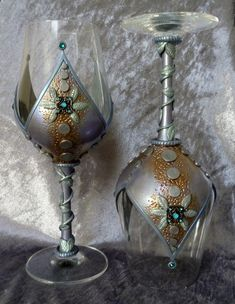 Melody Tallon 003  Medieval-style, polymer decorated wine glasses.
