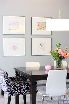 bright and pretty - love the watercolor paintings... thinking of doing this in my bathroom